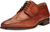 Magnanni Leather Brogue Wing-Tip Oxford, Brown