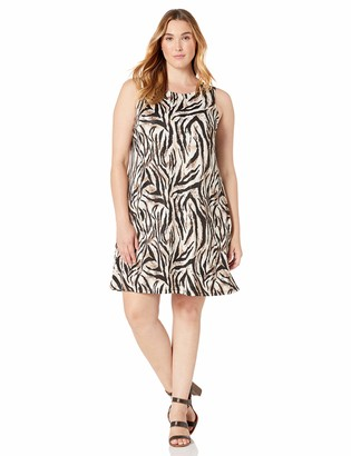 Kasper Women's Plus Size Sleeveless Jewel Neck Animal Print Dress