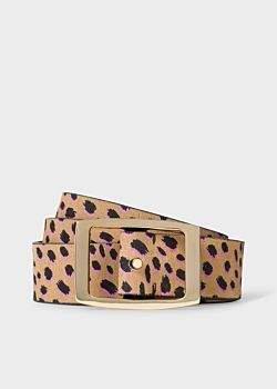 Women's Tan 'Cheetah' Print Leather Belt