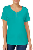 Karen Scott Solid Henley T-Shirt