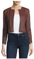 Theory Morene RoundNeck Cropped Lamb Leather Jacket