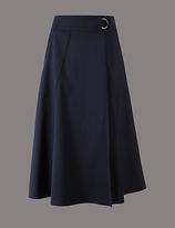 Autograph Cotton Blend Wrap A-Line Midi Skirt
