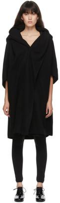 Y's Ys Black Wool U-Cape Coat