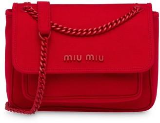 Miu Miu Chain-Strap Hemp Shoulder Bag