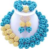 Laanc 2 layer turquoise ball and diamond beads African necklace bracelet Nigeria wedding jewelry set