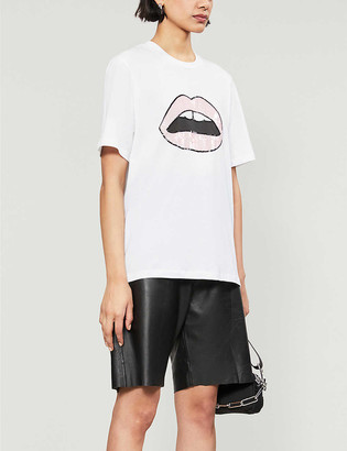 Markus Lupfer Alex sequin Lara-lip logo cotton-jersey T-shirt