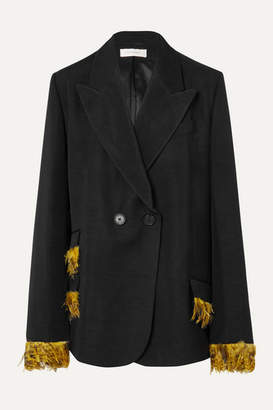 Wales Bonner Feather-trimmed Double-breasted Woven Blazer - Black