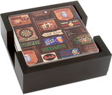 Thirstystone Coasters, Set of 4 Game Room in Dark Walnut Holder