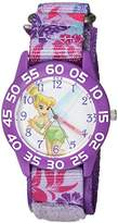 Disney Girl's 'Tinker Bell' Quartz Plastic and Nylon Casual Watch, Color:Purple (Model: WDS000103)