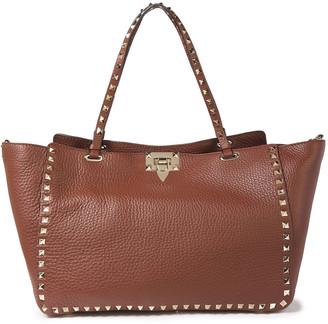Valentino Rockstud Pebbled-leather Tote
