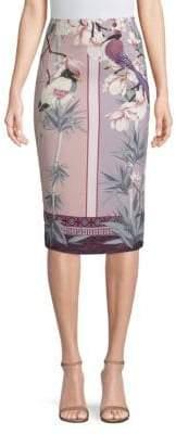 Versace Floral-Print Pencil Skirt