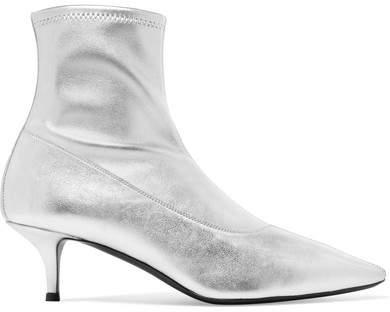 Giuseppe Zanotti Notte Metallic Leather Sock Boots - Silver