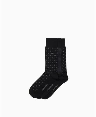 Calvin Klein 3 Pack Mercerized Cotton Novelty Dress Socks