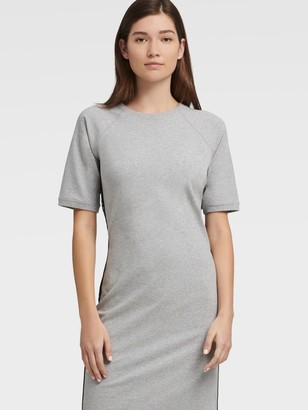 DKNY Women's Crew Neck T-shirt Dress With Logo Taping - Pearl Grey Heather - Size M