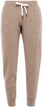 Brunello Cucinelli Ribbed Metallic Cashmere-blend Track Pants