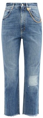 Givenchy Chain-embellished Cropped Straight-leg Jeans - Blue