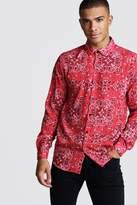 BoohoomanBoohooMAN Mens Long Sleeve Red Bandana Design Shirt, Red