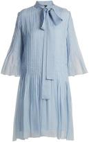 Rochas Pleated neck-tie silk-chiffon dress