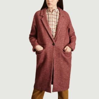 Suncoo Long Plum Wool Elvis Coat - 2 | wool | plum - Plum