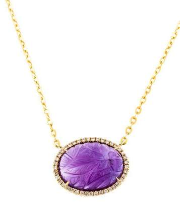 Rina Limor Fine Jewelry 18K Amethyst & Diamond Halo Pendant Necklace