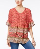 Style&Co. Style & Co Sheer Printed Top, Only at Macy's