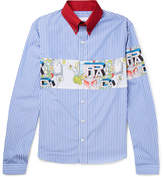 Prada Printed Striped Cotton-Poplin Shirt