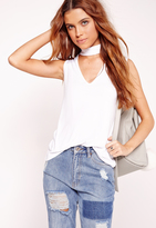 Missguided Choker Neck Tank Top White
