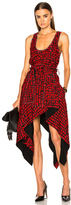 Proenza Schouler Printed Fil Coupe Waist Tie Dress in Red,Abstract,Checkered & Plaid.