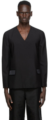 Undercover Black Gabardine V-Neck Sweater