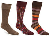 Roundtree & Yorke Gold Label Big & Tall Square Dot Combo Crew Dress Socks 3-Pack