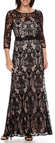 Ombre Signature by Sangria 3/4-Sleeve Lace Formal Gown - Petite