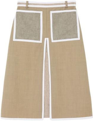 Burberry contrast seam A-line skirt