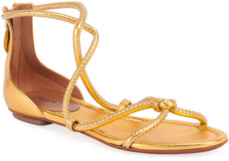 Alaia Flat Tubular Studded Sandals