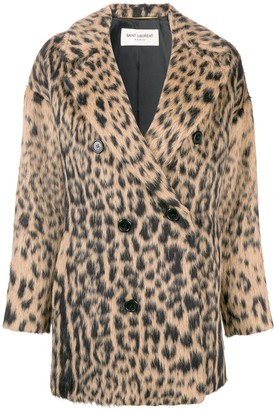 Saint Laurent Double-Breasted Leopard Coat