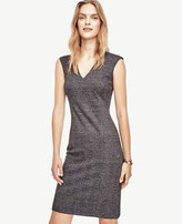 Ann Taylor Petite Glen Plaid Flounce Sheath Dress