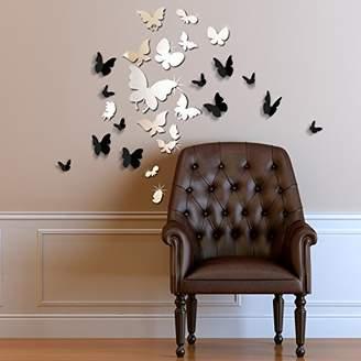 Walplus WSM2057 14 Mirror Butterflies Plus WS1008 Walplus 3D Black Butterfly Wall Art Murals Nursery Office Home Decoration