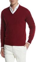 Loro Piana Scollo V Classic Baby Cashmere Sweater, Red
