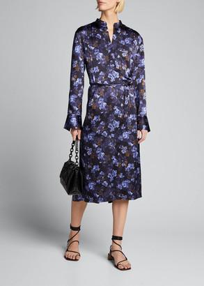 Vince Plumeria Blooms V-Neck Hammered Satin Dress