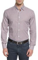 Brioni Check Long-Sleeve Sport Shirt, Burgundy/White