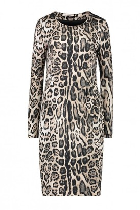 Riani Leopard Print Dress - 10 - Brown/White