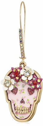 Betsey Johnson Floral Skull Dangle Earrings