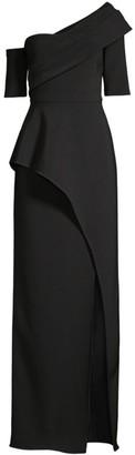 Aidan Mattox Asymmetric Column Evening Gown