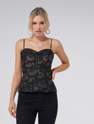 Forever New Gwen Floral Lace-Up Metallic Top - Black/Bronze - 4