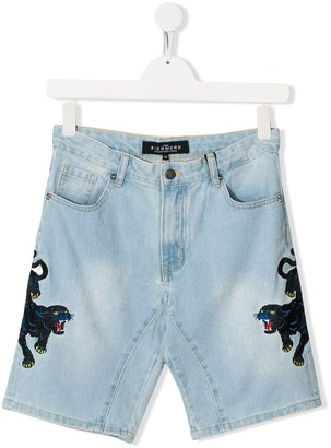 John Richmond Junior TEEN embroidered denim shorts