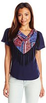 NY Collection Women's Petite Short Sleeve Dolman Top with Printed Fringe Scarf