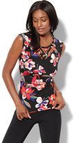 New York & Co. 7th Avenue - Lattice-Trim Cap-Sleeve Top - Tropical Print