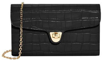 Coccinelle Florence Croco Flap Over Crossbody Bag