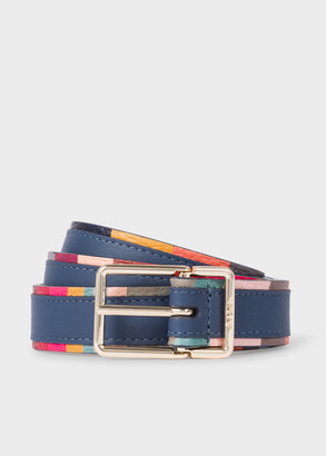 Paul Smith Women's Slate Blue Leather Belt With 'Swirl' Edge