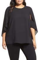 Vince Camuto Plus Size Women's Embellished Cape Sleeve Blouse