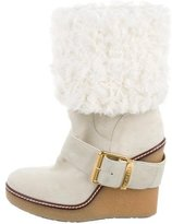 Moncler Suede & Shearling Wedge Boots